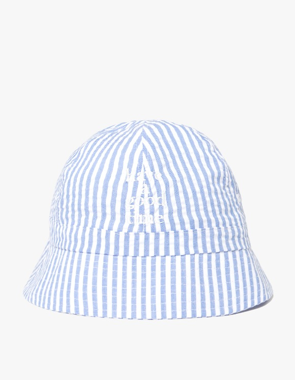 have a good time Striped Seersucker Logo Bucket Hat - Blue | HEIGHTS. | 하이츠 온라인 스토어