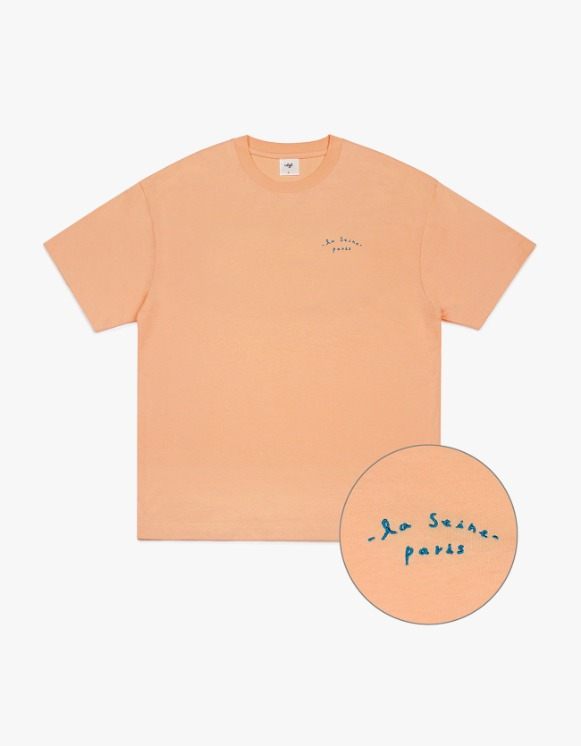 CLIF Seine Small Font S/S Tee - Coral | HEIGHTS. | 하이츠 온라인 스토어