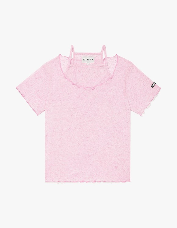 KIRSH KIRSH WAVE STITCH U-NECK T-SHIRT JH - Light Pink | HEIGHTS. | 하이츠 온라인 스토어
