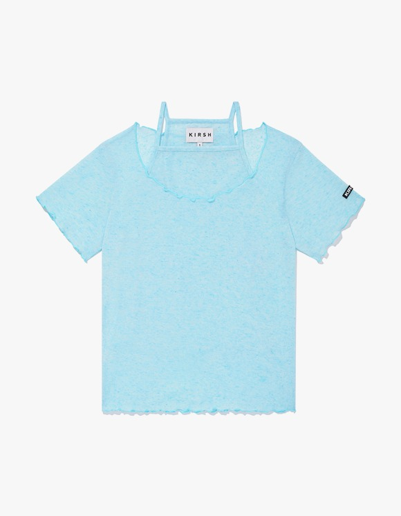 KIRSH KIRSH WAVE STITCH U-NECK T-SHIRT JH - Light Blue | HEIGHTS. | 하이츠 온라인 스토어