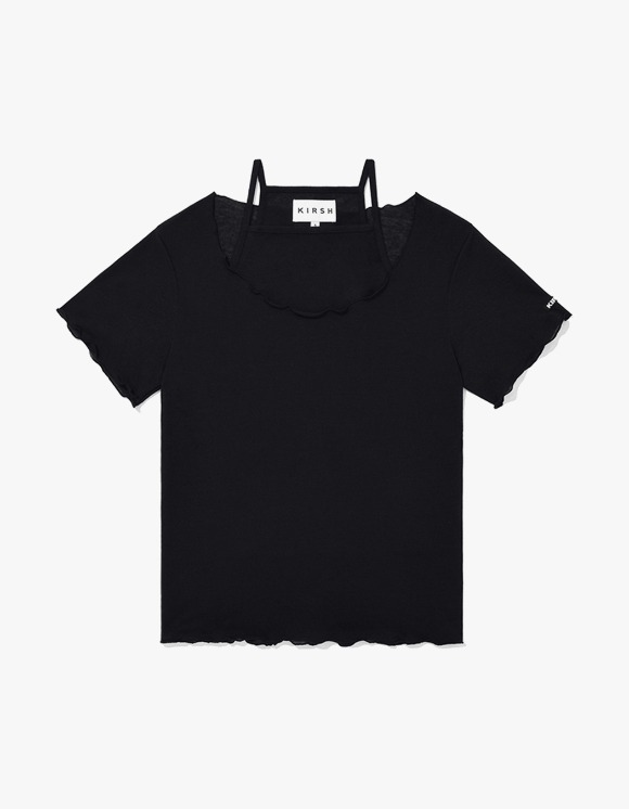 KIRSH KIRSH WAVE STITCH U-NECK T-SHIRT JH - Black | HEIGHTS. | 하이츠 온라인 스토어