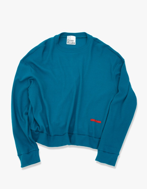 Enzo Blues Loose Fit Waffle Sweatshirt - Cobalt Blue | HEIGHTS. | 하이츠 온라인 스토어