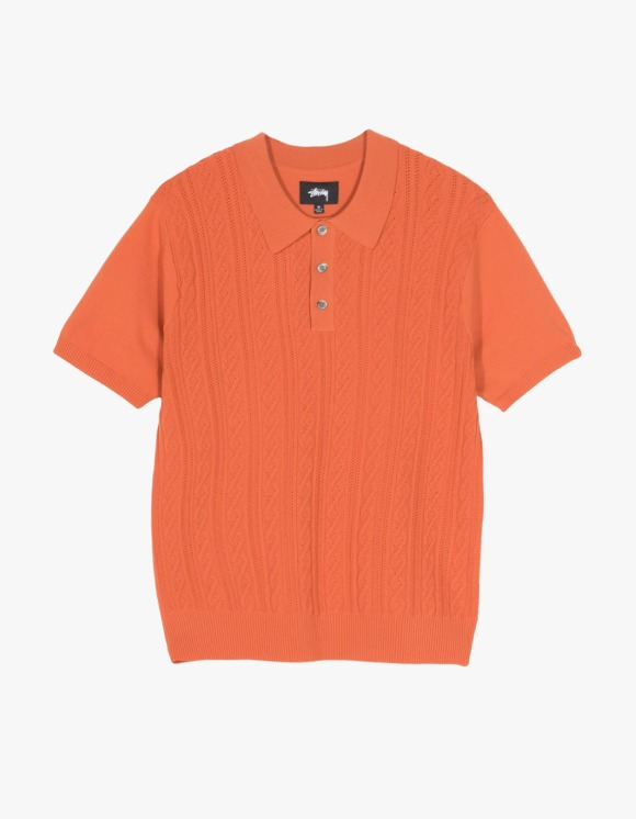 Stussy Cable S/S Polo - Rust | HEIGHTS. | 하이츠 온라인 스토어