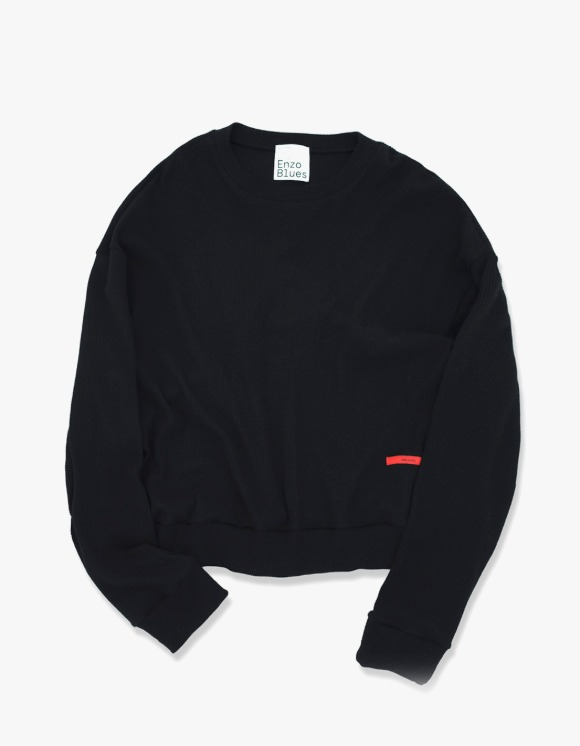 Enzo Blues Loose Fit Waffle Sweatshirt - Black | HEIGHTS. | 하이츠 온라인 스토어