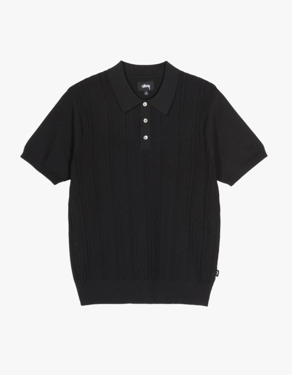 Stussy Cable S/S Polo - Black | HEIGHTS. | 하이츠 온라인 스토어