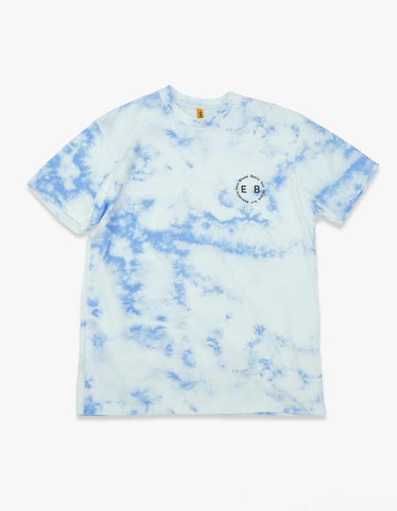 Enzo Blues [7월 15일 예약발송] Round Slogan Tie Dyed S/S Tee - Blue | HEIGHTS. | 하이츠 온라인 스토어