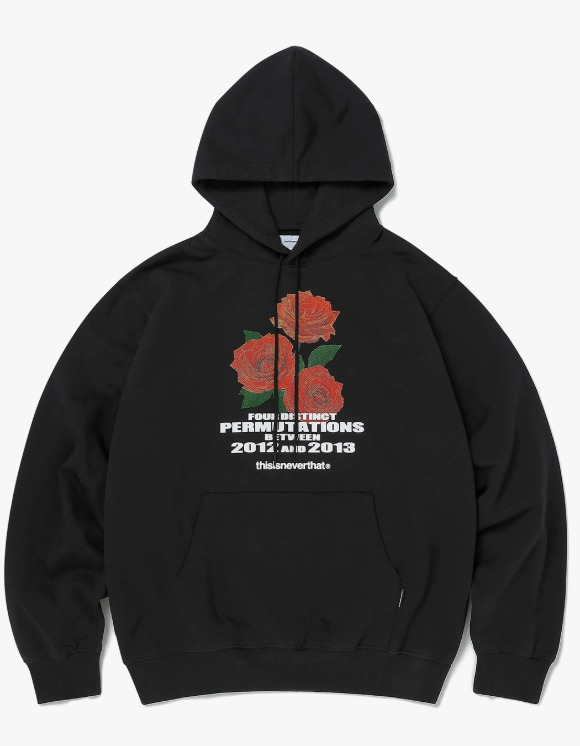 thisisneverthat Rose hooded Sweatshirt - Black | HEIGHTS. | 하이츠 온라인 스토어