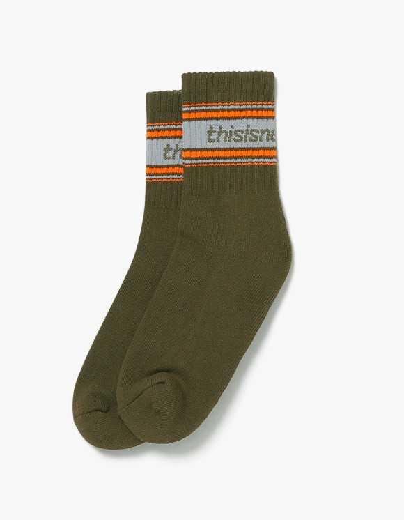 thisisneverthat SP-Logo Striped Socks - Olive | HEIGHTS. | 하이츠 온라인 스토어