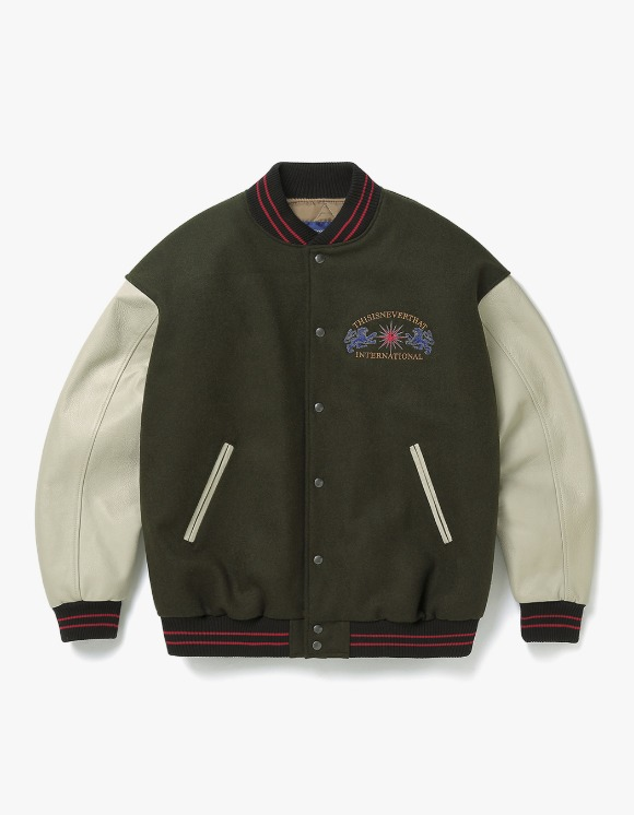 thisisneverthat LION Varsity Jacket - Olive | HEIGHTS. | 하이츠 온라인 스토어