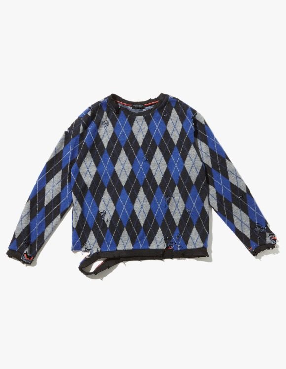 JOEGUSH Distressed Argyle Knit - Blue/Black | HEIGHTS. | 하이츠 온라인 스토어
