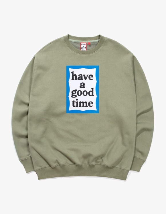 have a good time Blue Frame Crewneck - Sage | HEIGHTS. | 하이츠 온라인 스토어