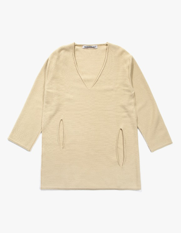 TheOpen Product Side Cut Out V Neck Knit Top - Beige | HEIGHTS. | 하이츠 온라인 스토어