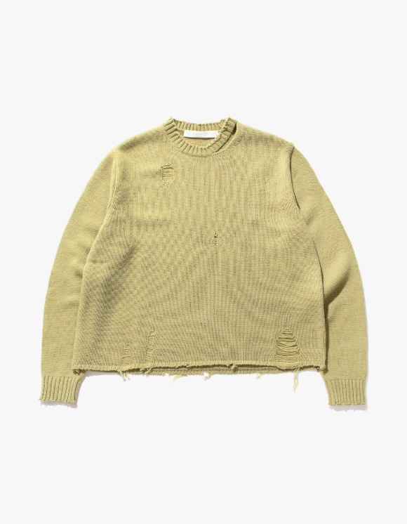 TheOpen Product Distressed Hem Wool Knit Top - Olive | HEIGHTS. | 하이츠 온라인 스토어