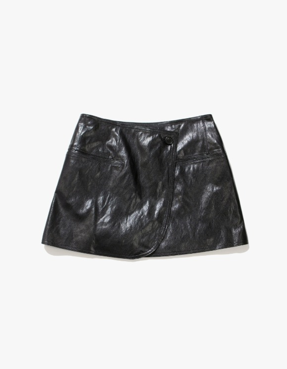 TheOpen Product Faux Leather Wrap Skirt - Black | HEIGHTS. | 하이츠 온라인 스토어