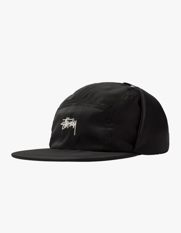 Stussy Stock Ear Flap Camp Cap - Black | HEIGHTS. | 하이츠 온라인 스토어