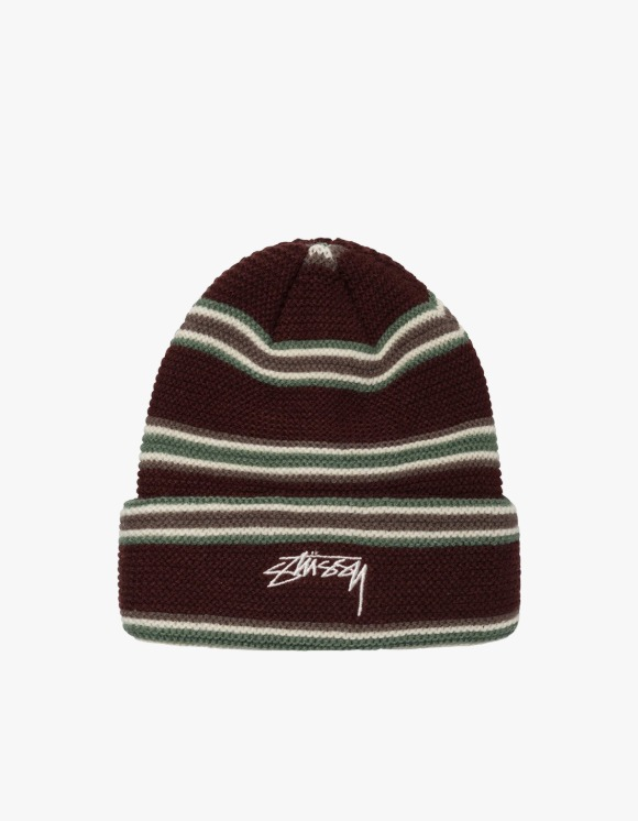 Stussy Triple Stripe Cuff Beanie - Burgundy | HEIGHTS. | 하이츠 온라인 스토어
