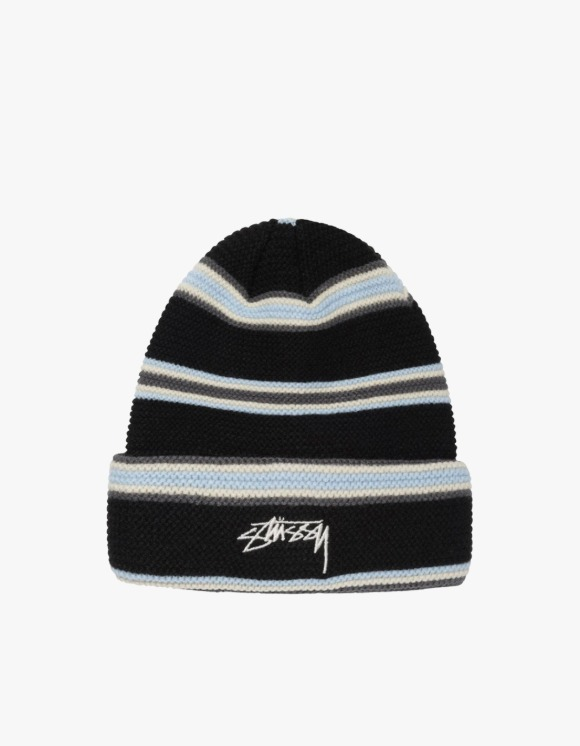 Stussy Triple Stripe Cuff Beanie - Black | HEIGHTS. | 하이츠 온라인 스토어