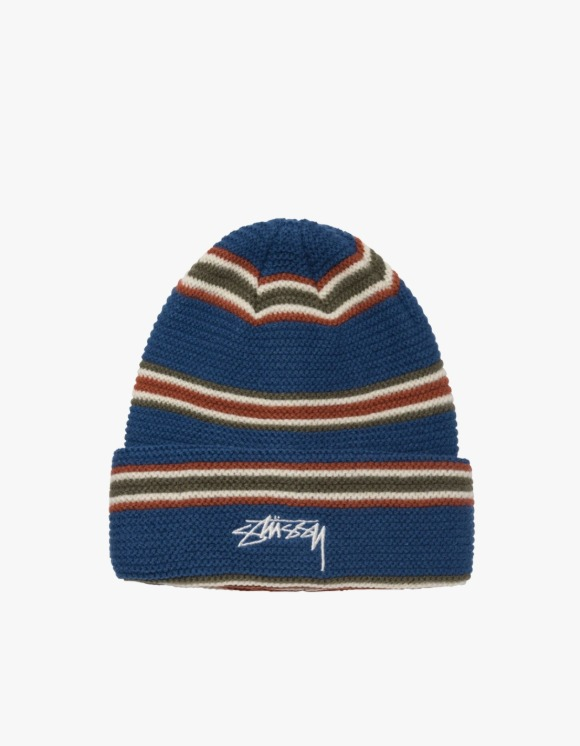 Stussy Triple Stripe Cuff Beanie - Blue | HEIGHTS. | 하이츠 온라인 스토어