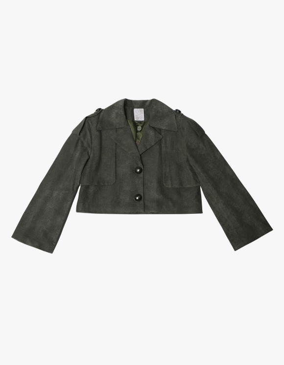 145Office Faux leather jacket - Olive | HEIGHTS. | 하이츠 온라인 스토어