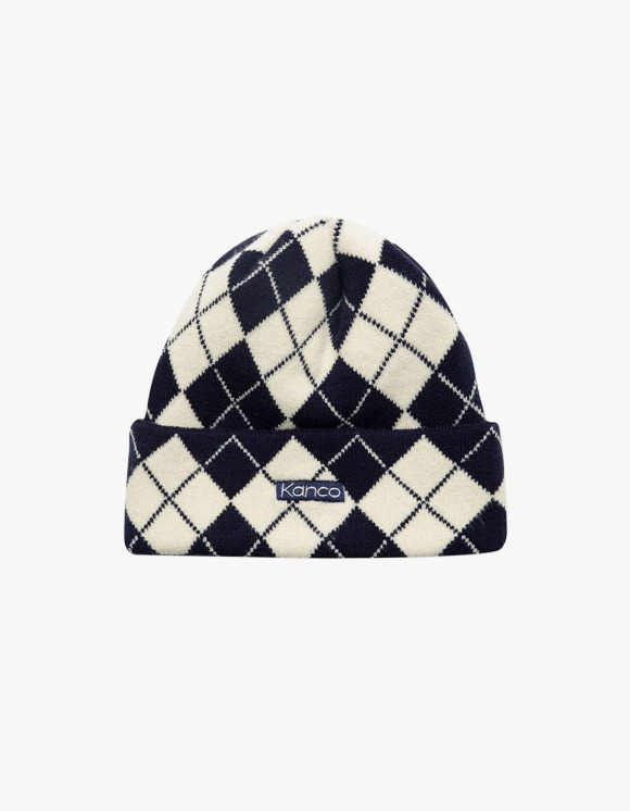 KANCO KANCO ARGYLE BEANIE navy | HEIGHTS. | 하이츠 온라인 스토어