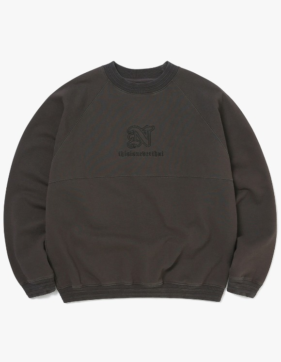 thisisneverthat Pipe RIB Crewneck - Charcoal | HEIGHTS. | 하이츠 온라인 스토어