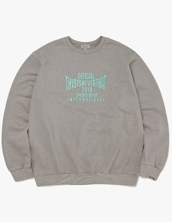 thisisneverthat Overdyed Sports Crewneck - Grey | HEIGHTS. | 하이츠 온라인 스토어