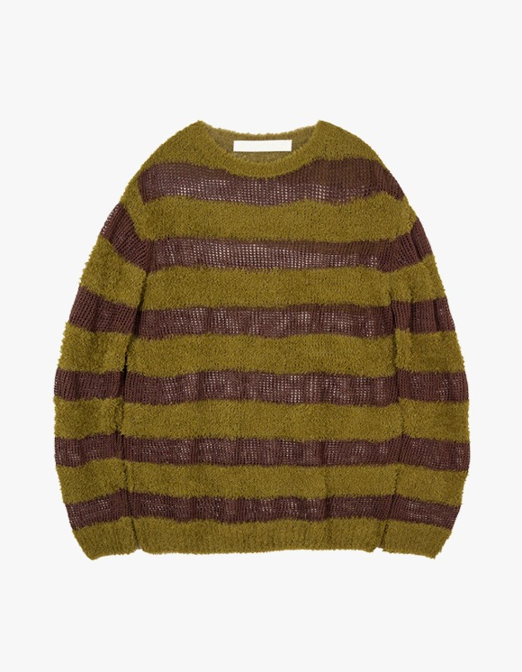 TheOpen Product Fluffy Stripe Knit Top - Khaki | HEIGHTS. | 하이츠 온라인 스토어