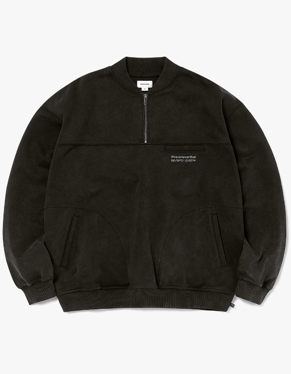 thisisneverthat Washed Half Zip Pullover - Black | HEIGHTS. | 하이츠 온라인 스토어