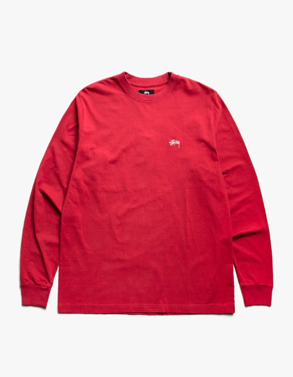 Stussy Stock Logo L/S Crew - Red | HEIGHTS. | 하이츠 온라인 스토어