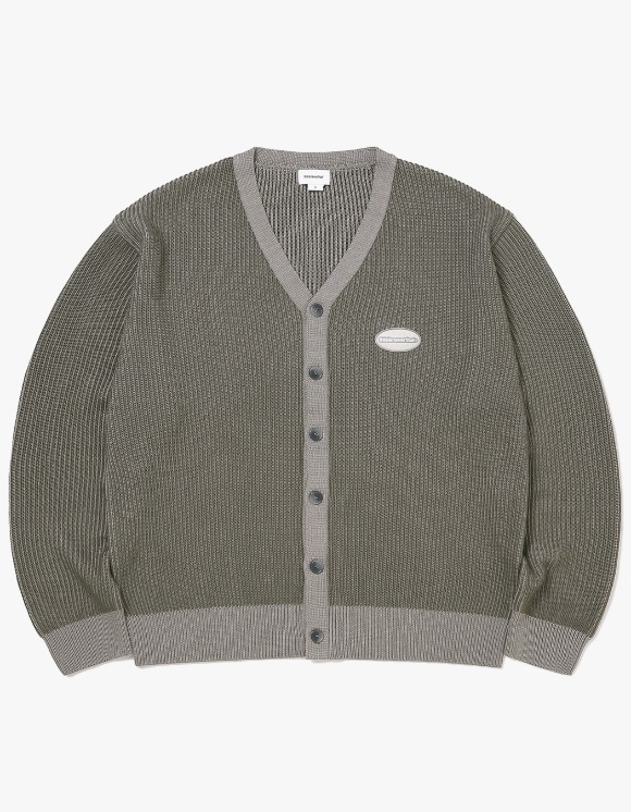 thisisneverthat E/T-Logo Rib Cardigan - Grey/Khaki | HEIGHTS. | 하이츠 온라인 스토어