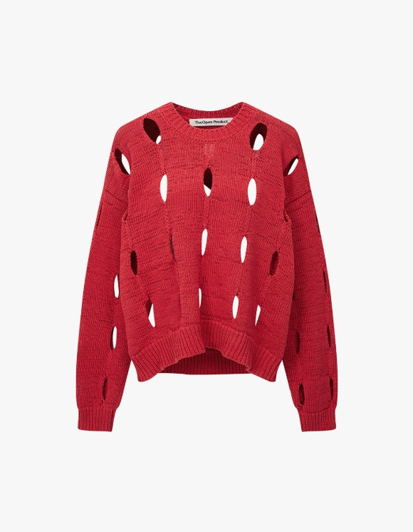 TheOpen Product Cut-Out Cotton Sweater - Red | HEIGHTS. | 하이츠 온라인 스토어