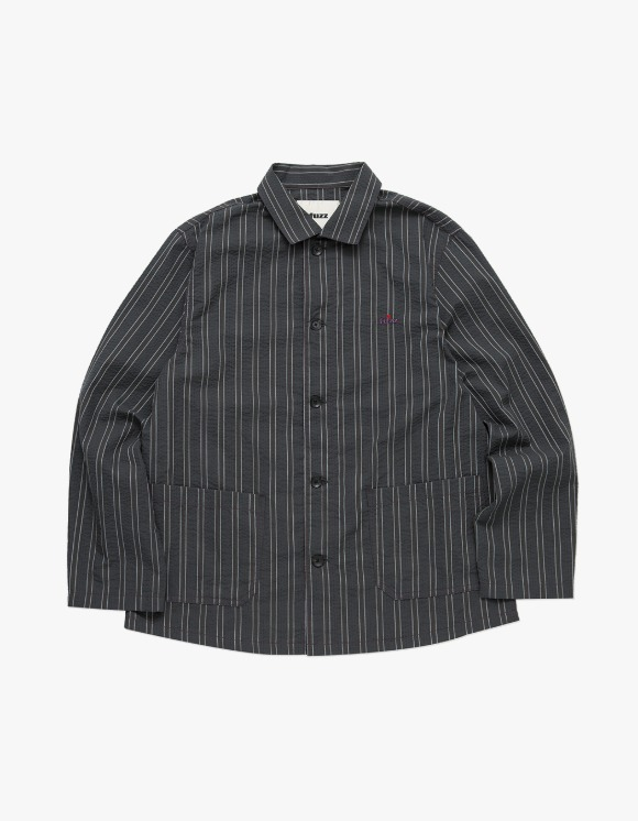 Fuzz FUZZ SEERSUCKER STRIPE SHIRT charcoal | HEIGHTS. | 하이츠 온라인 스토어