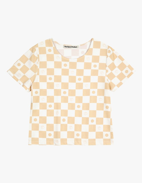 TheOpen Product Symbol Pattern Stretch Half Sleeve Tee - Beige | HEIGHTS. | 하이츠 온라인 스토어