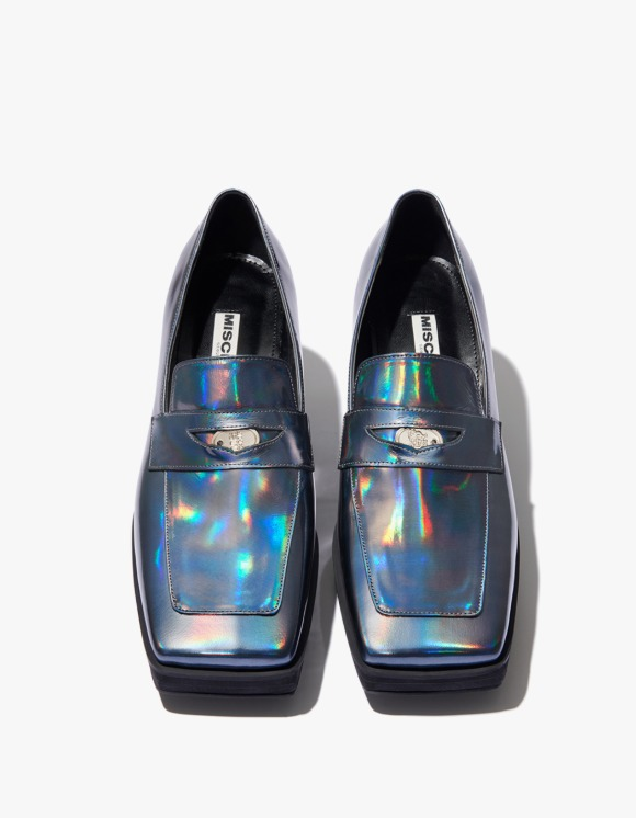 MISCHIEF Holographic Penny Loafer Heels - Stone Blue | HEIGHTS. | 하이츠 온라인 스토어