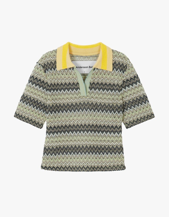 Andersson Bell Valencia Jacquard Polo Top - Multi Lemon | HEIGHTS. | 하이츠 온라인 스토어