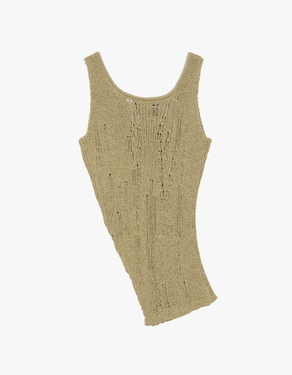 Andersson Bell Asymmetry Cut-Off Knit Top - Khaki | HEIGHTS. | 하이츠 온라인 스토어