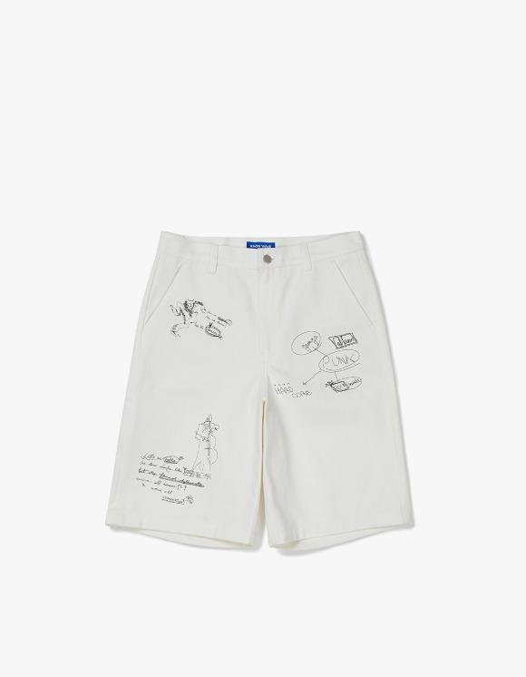 Know Wave [5월 27일 예약발송] Doodle Cotton Shorts - White | HEIGHTS. | 하이츠 온라인 스토어