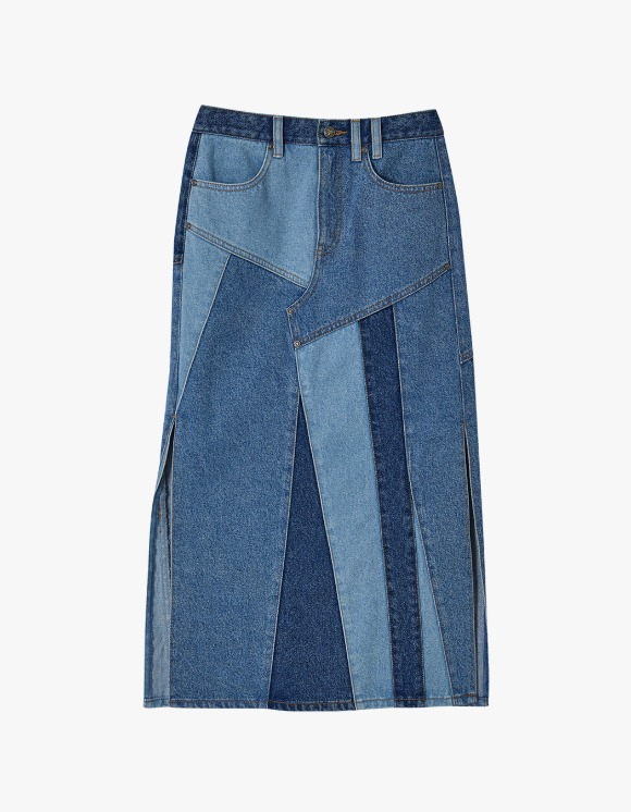 Andersson Bell Patchwork Long Slit Denim Skirt - Multi blue | HEIGHTS. | 하이츠 온라인 스토어