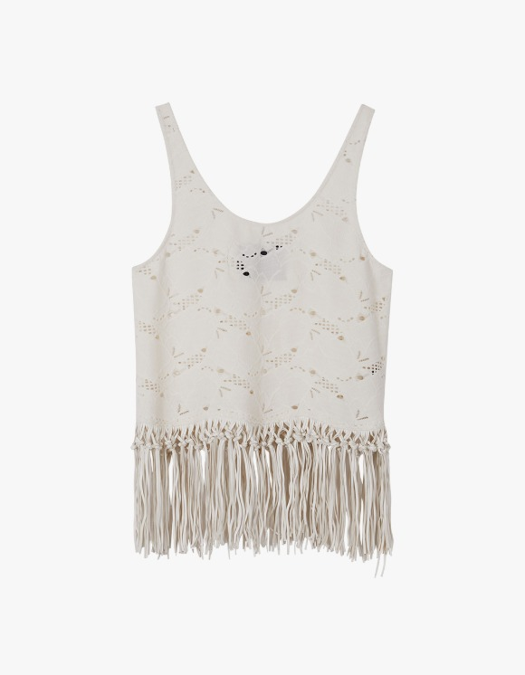 Andersson Bell Sage Faux Leather Fringe Punching Suede Top - Ivory | HEIGHTS. | 하이츠 온라인 스토어