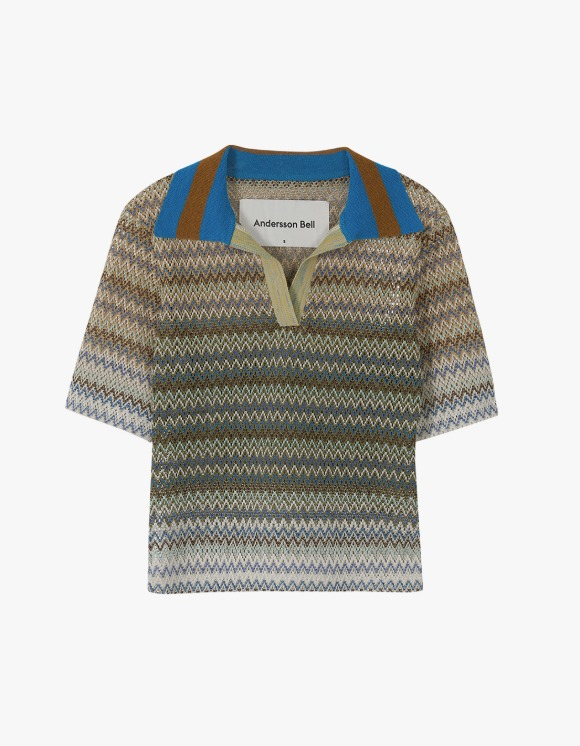 Andersson Bell Valencia Jacquard Polo Top - Multi Tan | HEIGHTS. | 하이츠 온라인 스토어