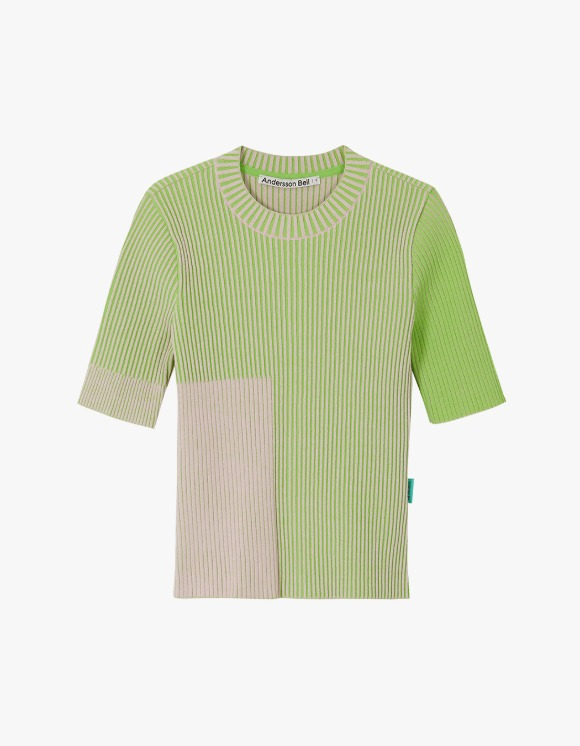 Andersson Bell Janis Two-Tone Short Sleeve Top - Pink x Green | HEIGHTS. | 하이츠 온라인 스토어