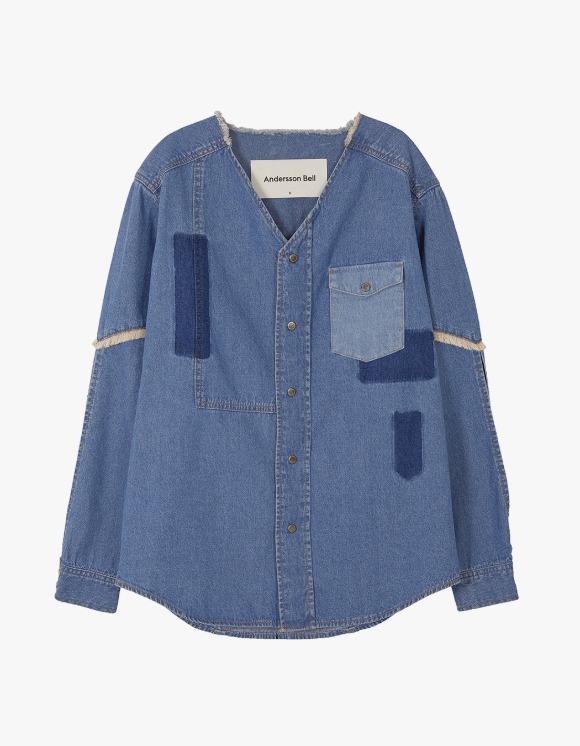 Andersson Bell Nicola Patch Collarless Denim Shirts - Blue | HEIGHTS. | 하이츠 온라인 스토어