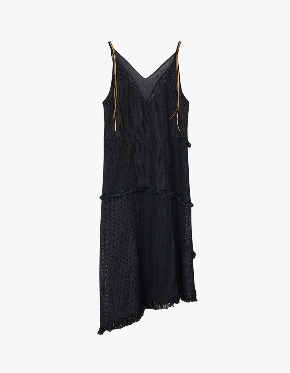 Andersson Bell Samanda Deep V-neck Asymmetric Tassle Dress - Black | HEIGHTS. | 하이츠 온라인 스토어